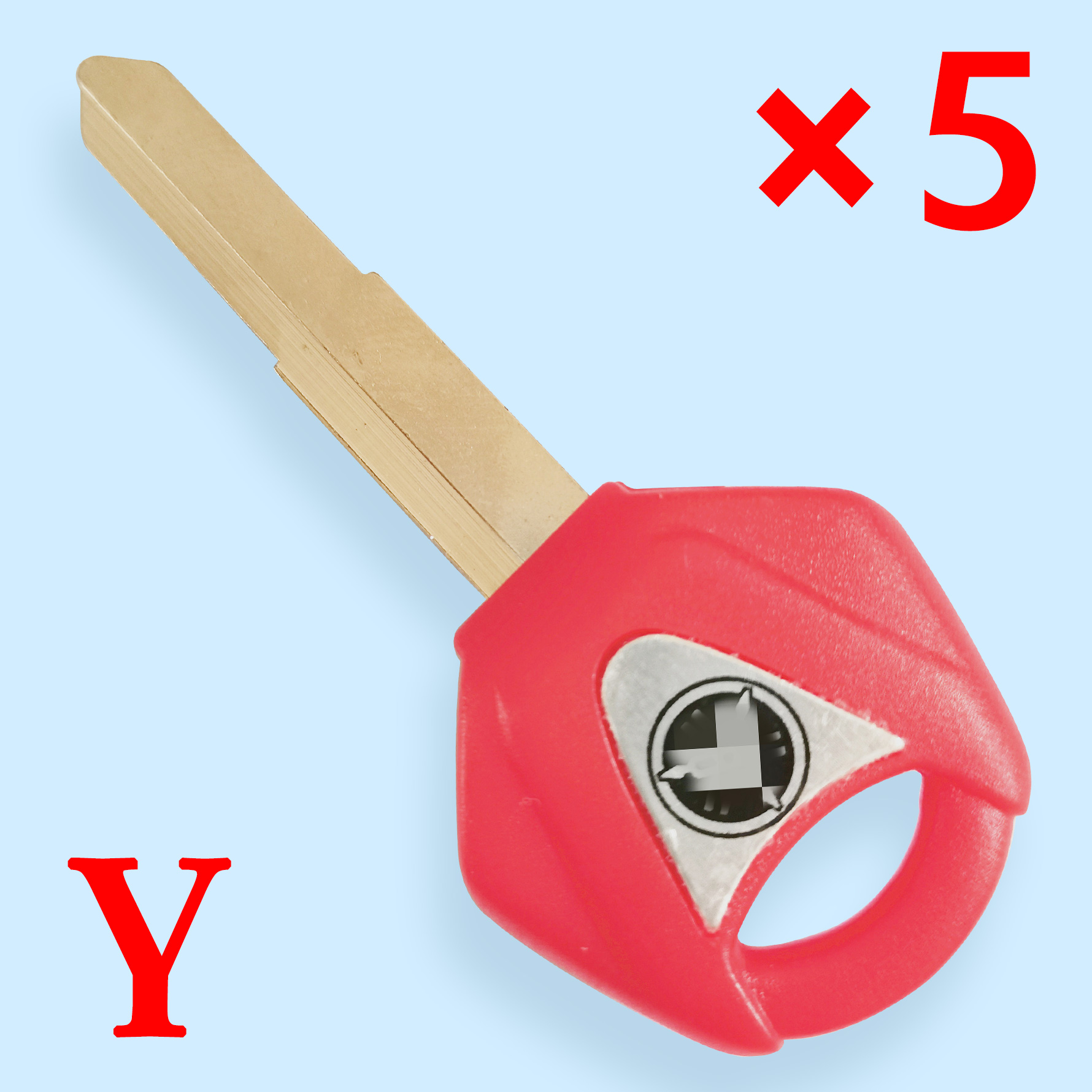 Transponder Key Shell with Left blade for Yamaha Motorcycle Red Color  -  Pack of 5