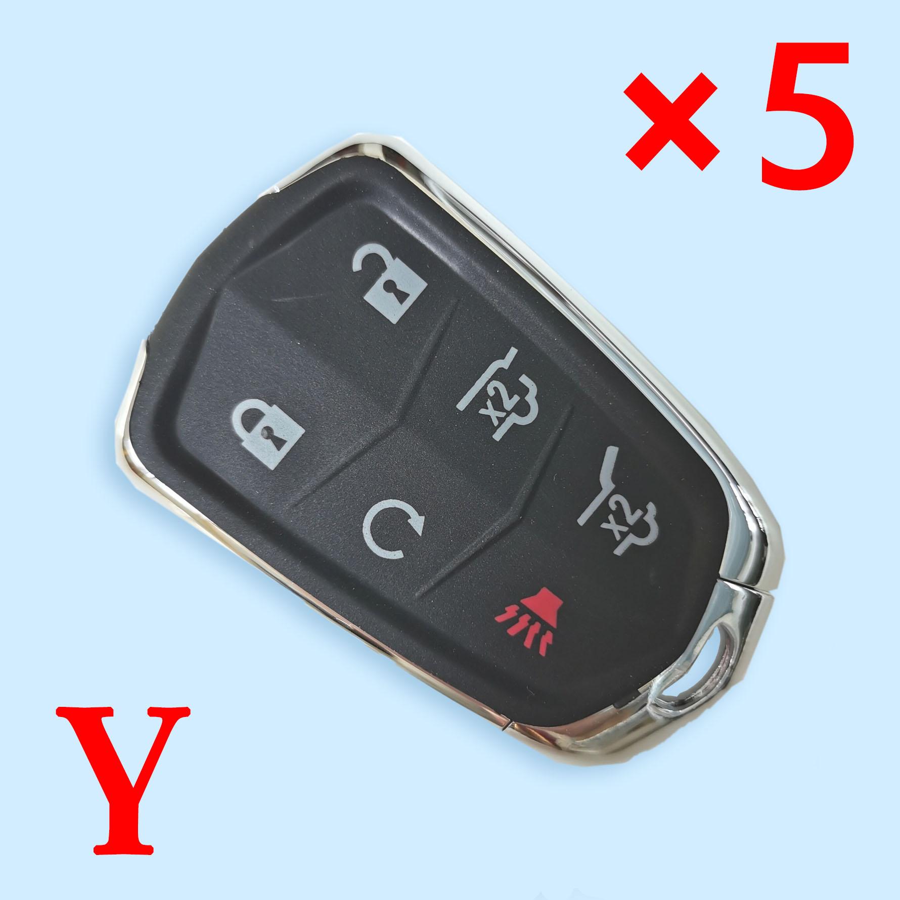 6 Buttons Remote Key Case Fob Shell With Blade #13580794 for Cadillac Escalade/Escalade ESV 2015 2016 2017 2018  5pcs