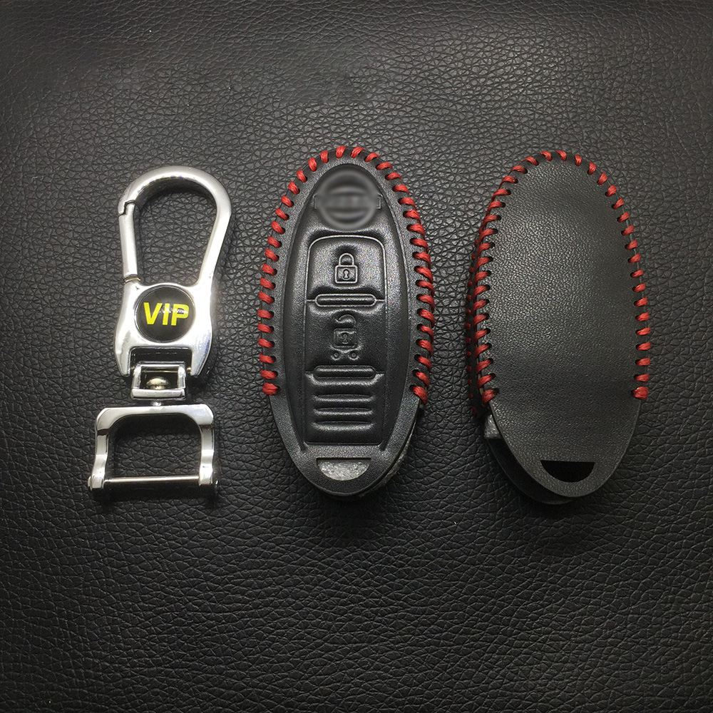 Leather Case for Nissan 2 Buttons Smart Card Car Key - 5 Sets