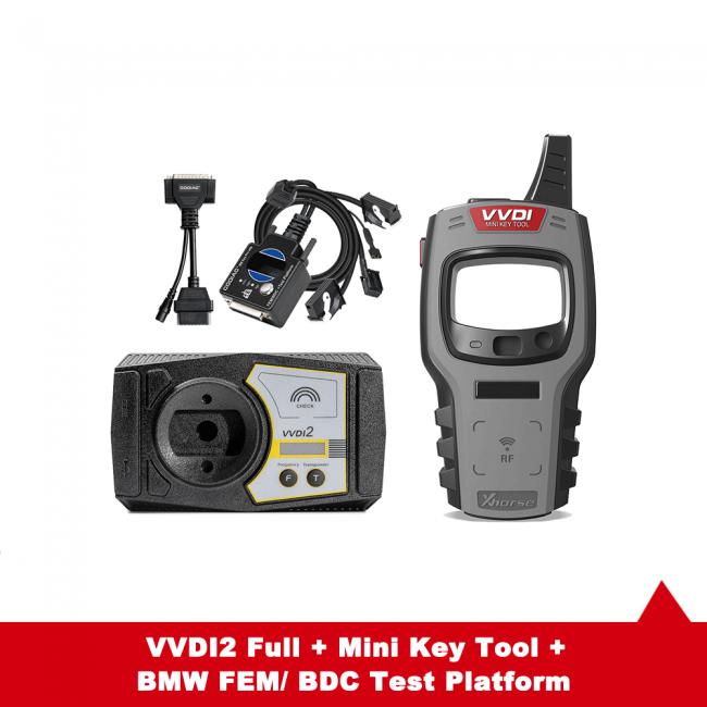 V7.0.2 Xhorse VVDI2 Full All 13 Software Activated + Xhorse Mini Key Tool + BMW FEM/ BDC Test Platform + 5 Smart Remotes