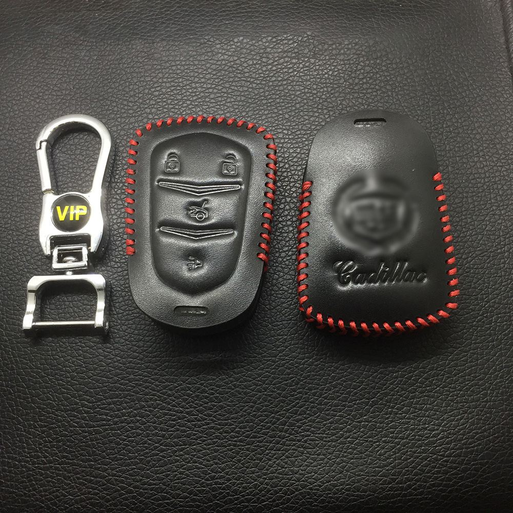 Leather Case for Cadillac New 4 Buttons Smart Card Car Key - 5 Sets