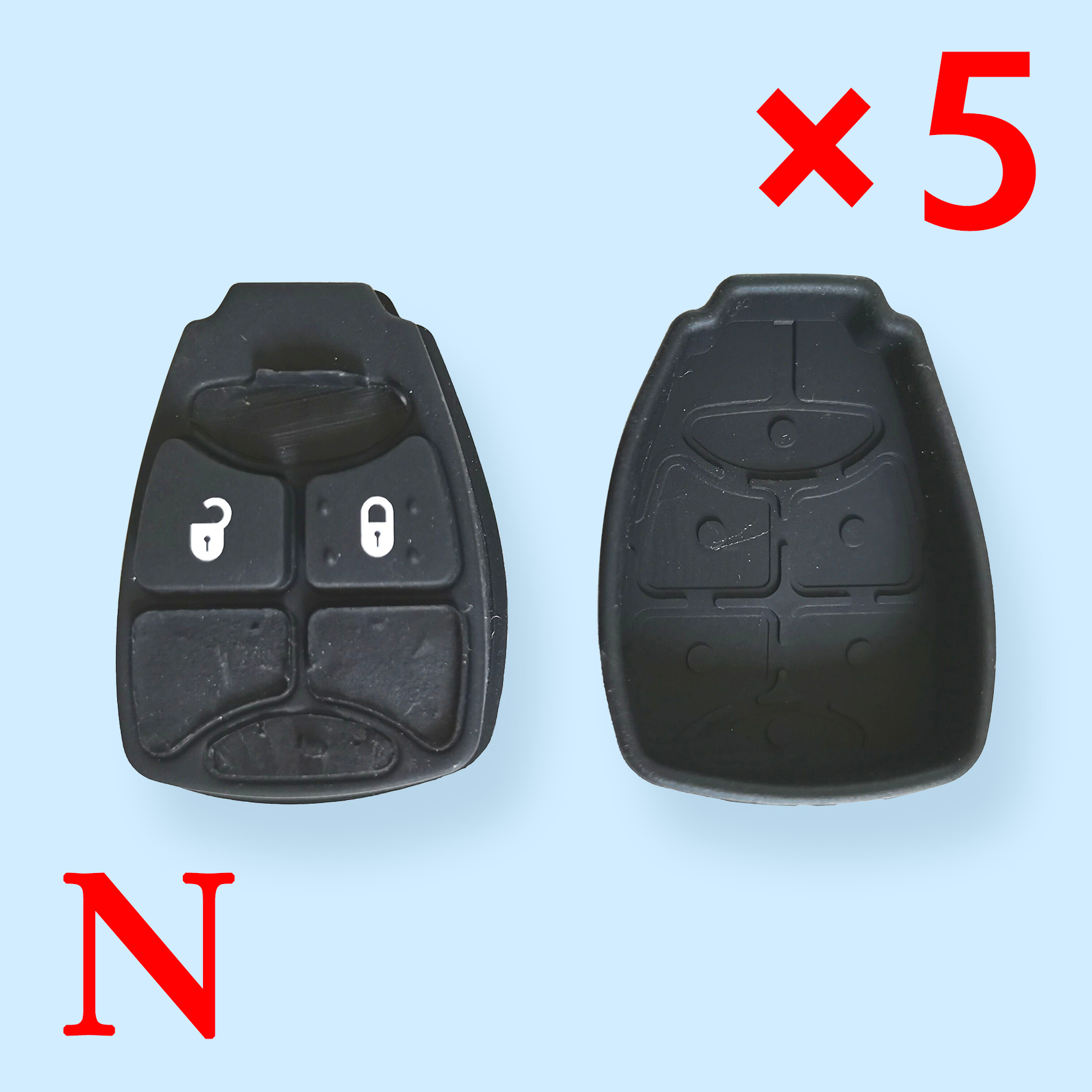 2 Buttons Rubber Pad for Chrysler Jeep Dodge - Pack of 5