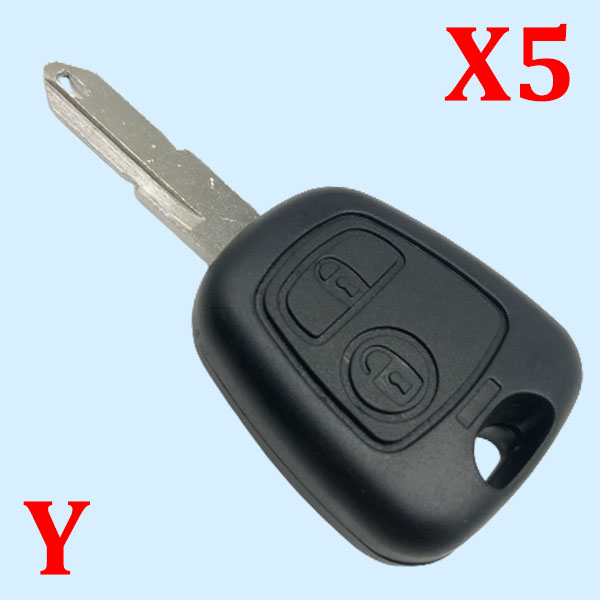 2 Buttons Key Shell for Peugeot 206 - Pack of 5