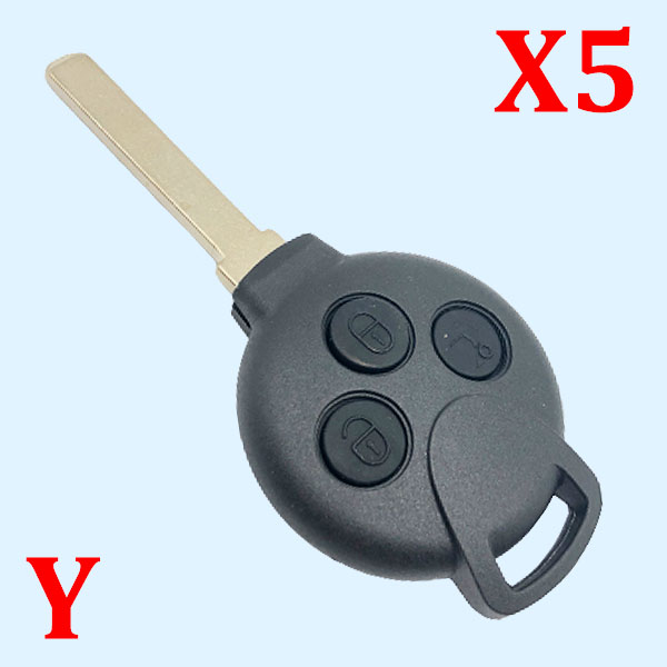 3 Buttons Remote Key Shell Laser Blade for Smart Fortwo  -  Pack of 5