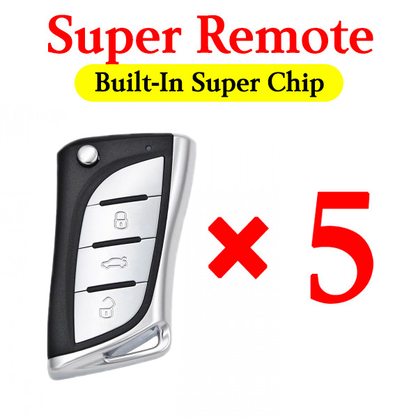 Xhorse VVDI Lexus Type Universal Remote Key with Built-In Super Chip - XELEX0EN - Pack of 5