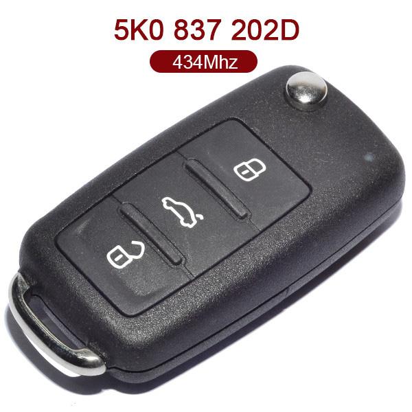 3 Buttons 434 MHz Flipe Remote Key for VW - 5K0 837 202D