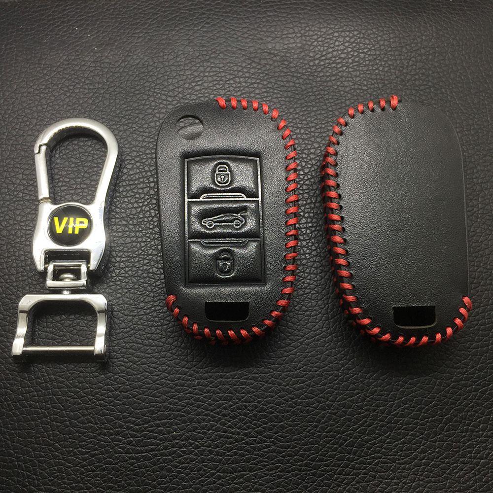 Leather Case for Peugeot Citroen New 3 Buttons Folding Car Key - 5 Sets