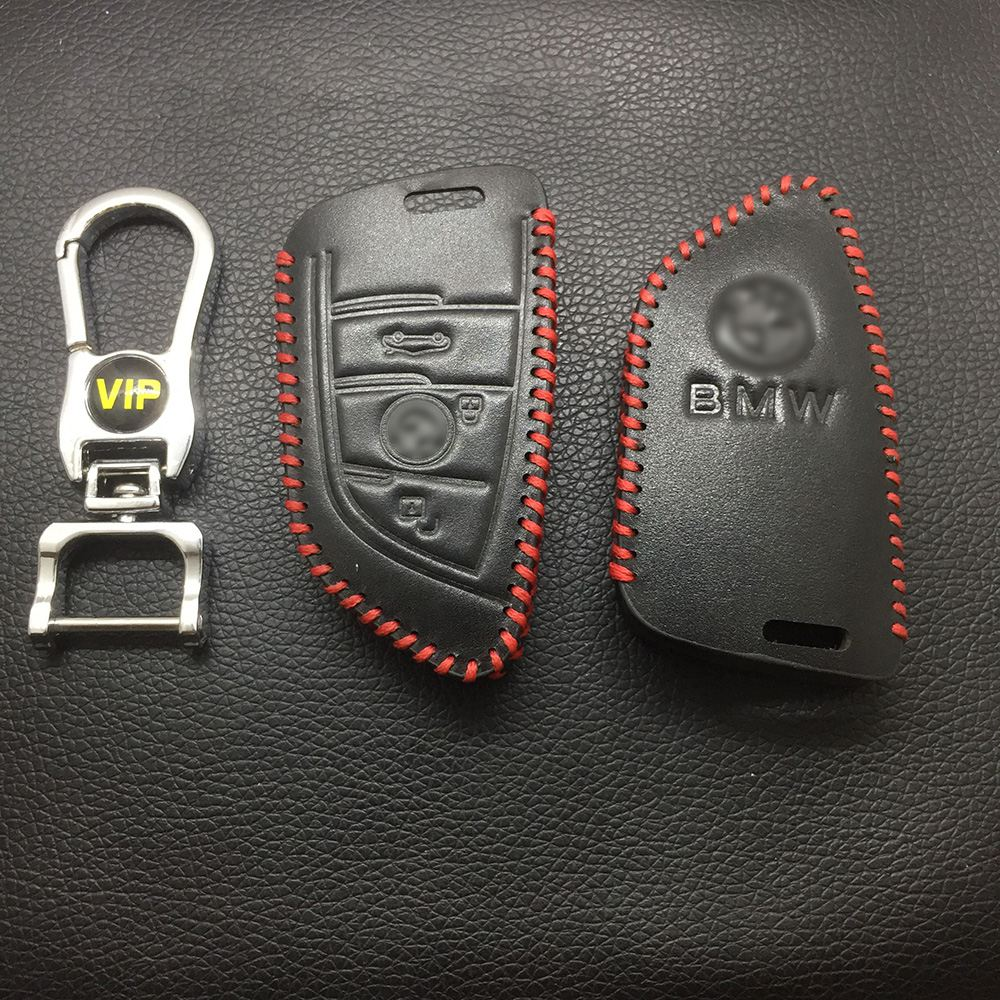 Leather Case for BMW Blade 3 Buttons Smart Card Car Key - 5 Sets