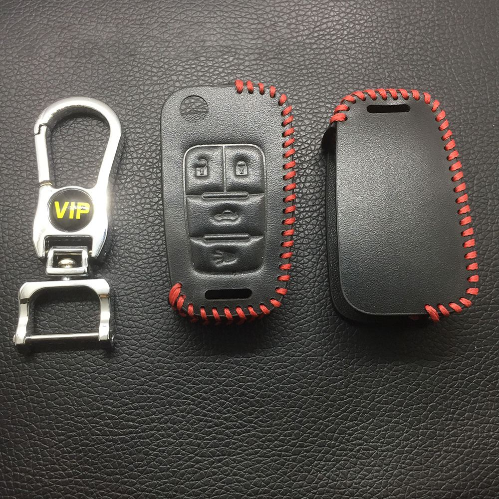 Leather Case for Buick Chevrolet 4 Buttons Folding Car Key - 5 Sets