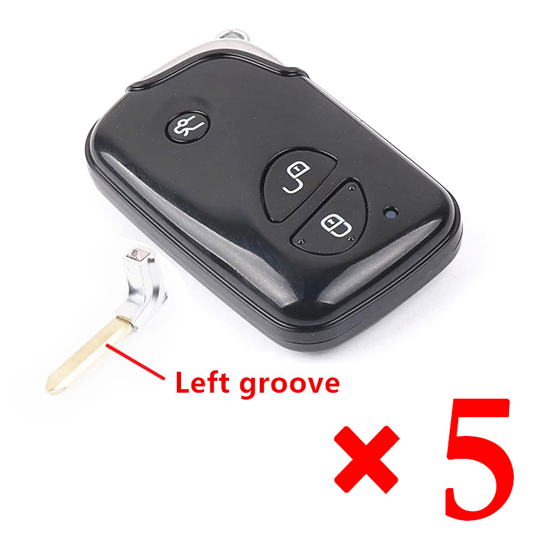 3 Buttons Smart Remote Key Shell for BYD S6 G3 F3 F0 L3 Replacement Car Key Blanks Case with Left groove blade 5pcs