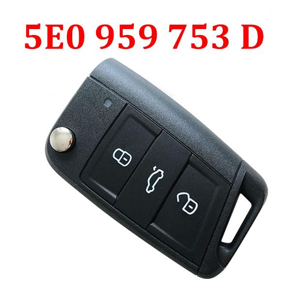 Original 3 Buttons 434 MHz MQB Flip Remote Key for Skoda Octavia 2012-2018  - 5E0 959 753 D ( 5E0 959 752 )