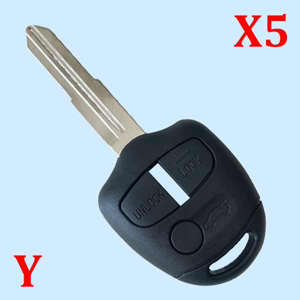 3 Buttons Remote Key Shell for Mitsubishi Pajero - Pack of 5