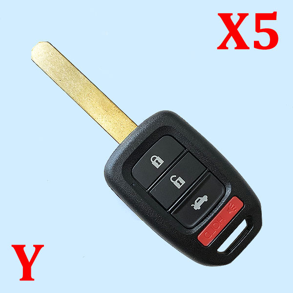 3+1 Buttons Remote Head Key SHELL for Honda Accord / Civic 2013–2017 - 5 pieces