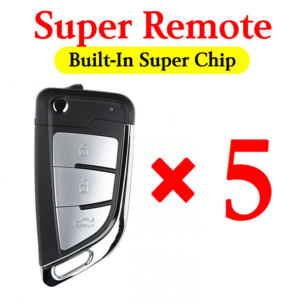 Xhorse XEKF21EN VVDI Super Remote for BMW Style 3 Silver Buttons Knife Type - Pack of 5