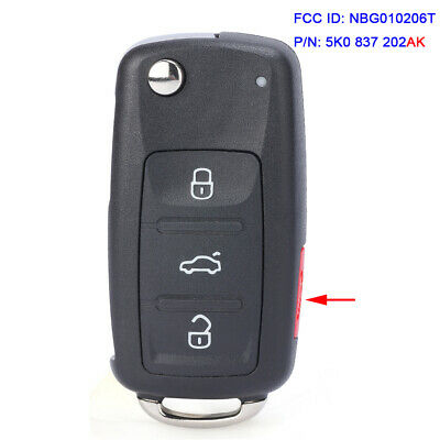 For VW Touran Passat UDS Type Proximity Flip Remote Key 3+1 Buttons 315MHz ID48 Megamos Transponder - 5K0 837 202 AK