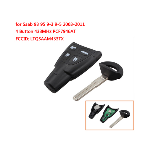 Remote Control Key forSAAB 9-3 93 2003-2010 4 Button433Mhz PCF7946AT FCCID:LTQSAAM433TX
