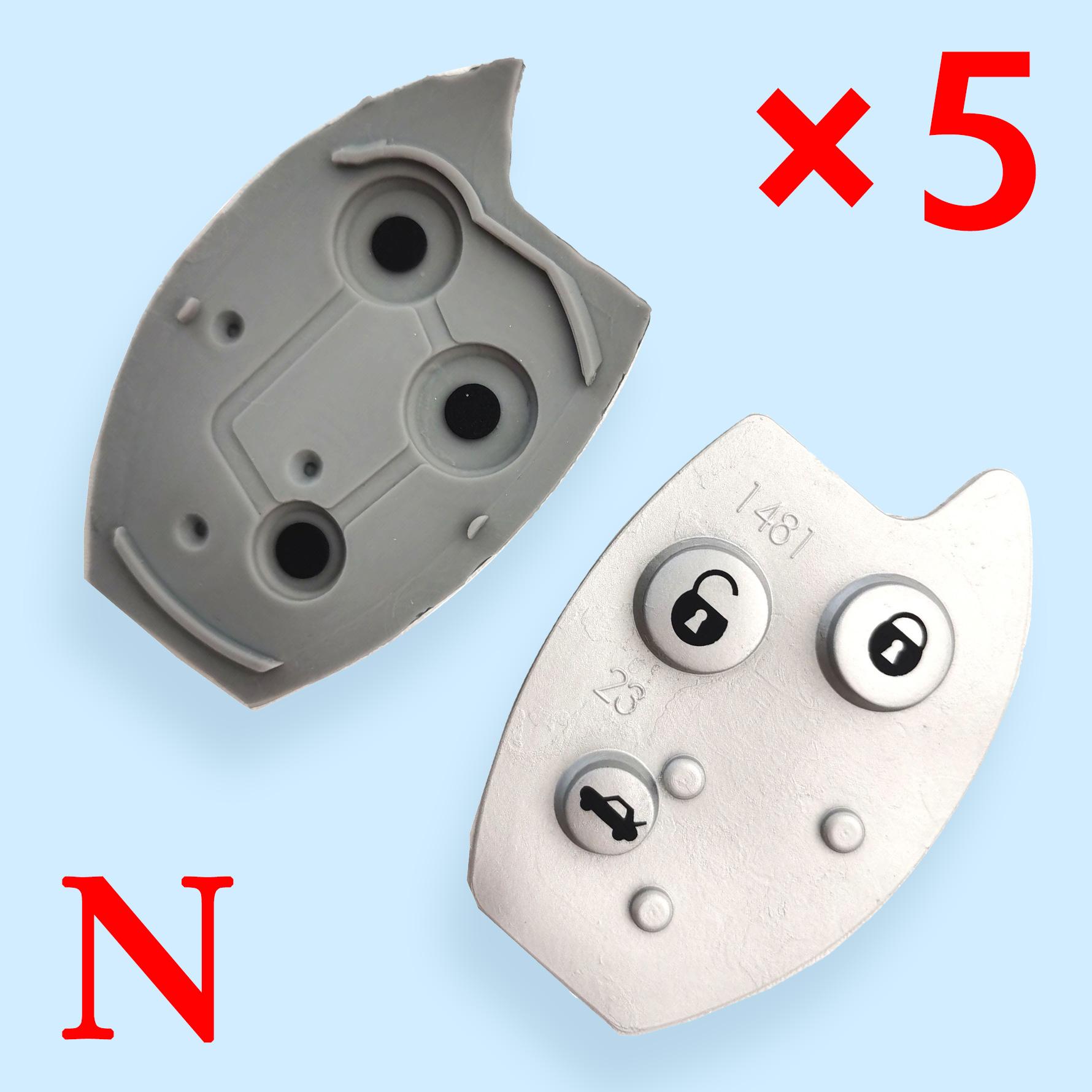3 Buttons Key Shell Rubber Pad for Citroen - 5 pcs
