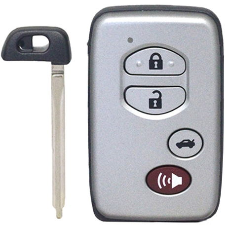[TOY] 3+1 Button ASK433.92 MHz Smart Remote Key (CAR) / F433 / 74 Chip / WD04 / TOY48 / Silver / Concave (for Middle Eastern Countries)