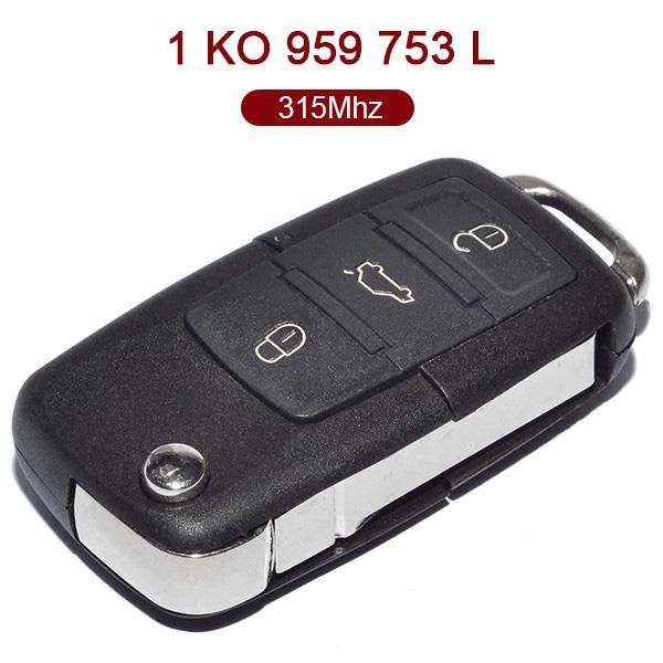 for VW Flip Key 3 Button 315MHz ID48 1K0 959 753 L