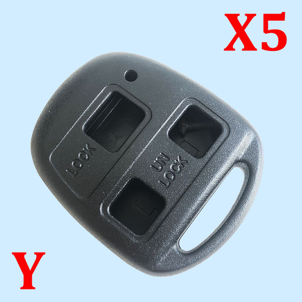 3 Buttons Key Shell  for Toyota Without Blade - Pack of 5
