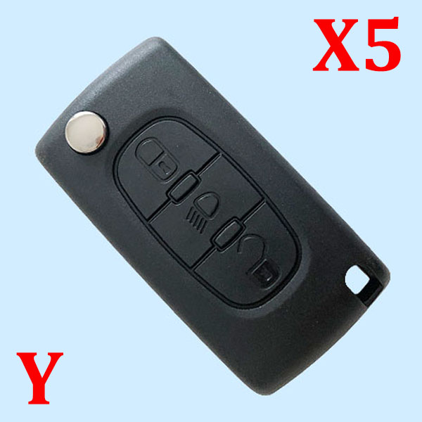 3 Button Key Shell with Battery Holder with Groove for Citroen 5pcs