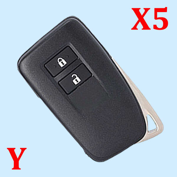( Type 5 ) 2 Buttons Smart Key Shell for Toyota - Suitable for Xhorse VVDI PCB - Pack of 5