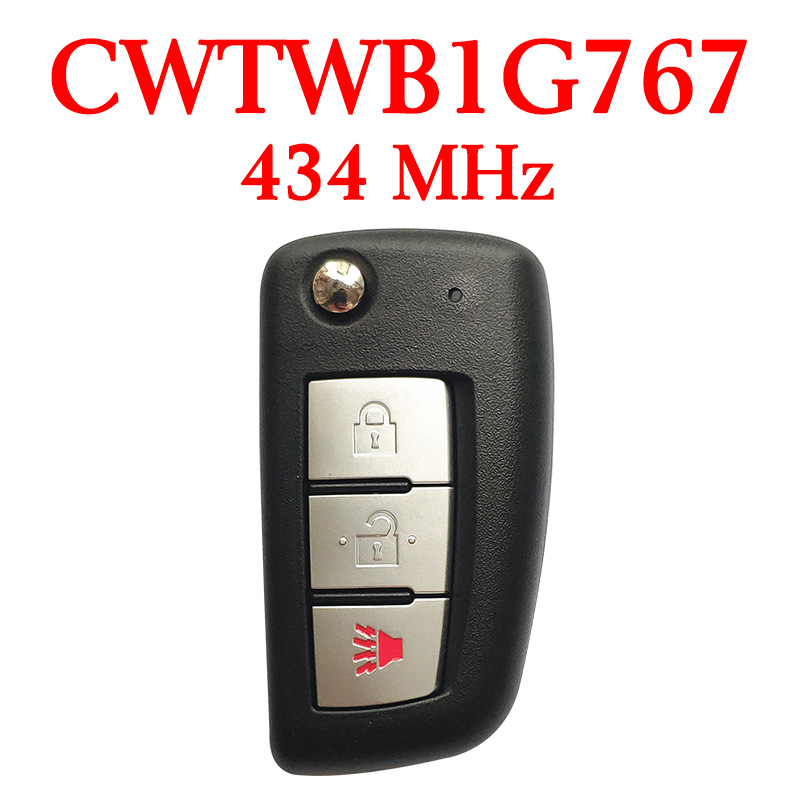 2+1 Buttons 434 MHz Flip Remote Key for Nissan Rogue 2014-2018 - CWTWB1G767 / (4A Chip)