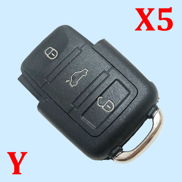 3 Buttons Key Shell for VW - Pack of 5