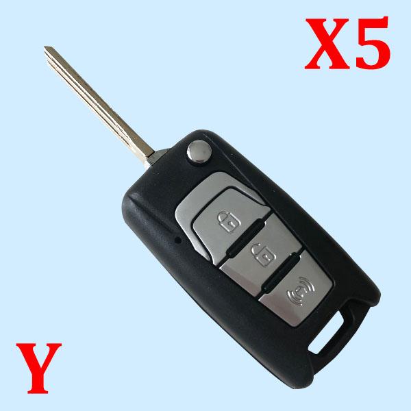 3 Button Flip Key Case Shell for SsangYong