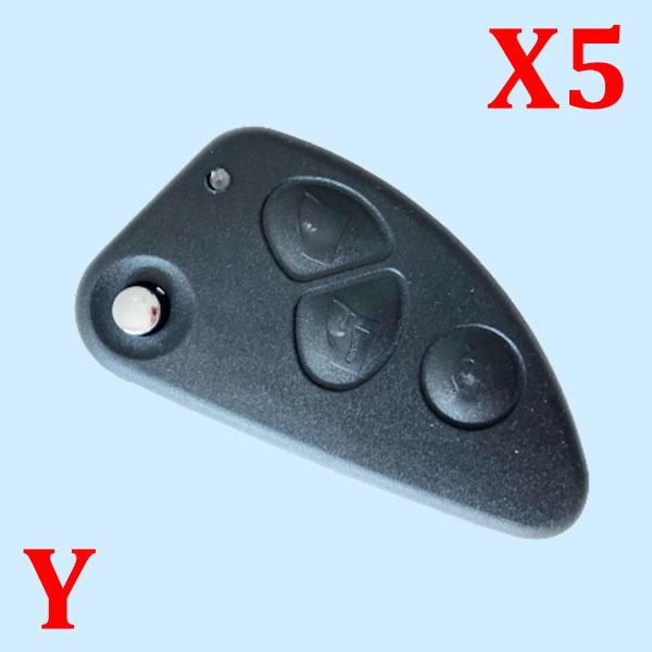 3 Buttons Flip Remote Key Shell for Alfa Romeo with SIP22 Blade - 5 pcs