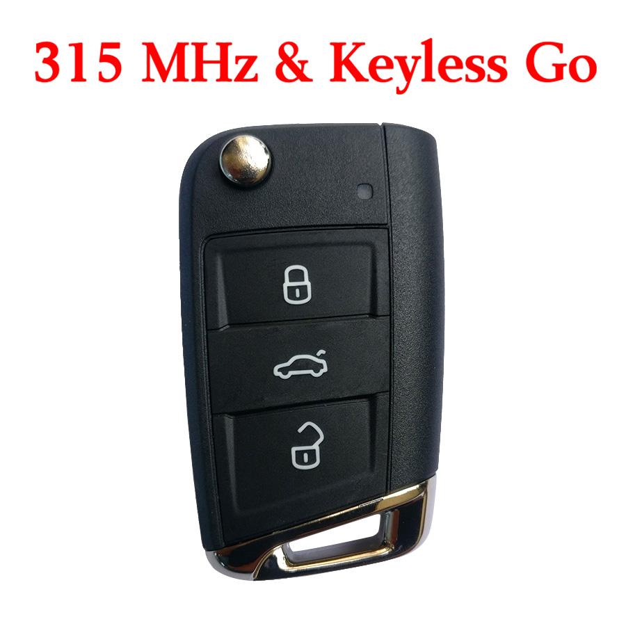 Original 315 MHz Flip Proximity Key for VW MQB Golf 7 -  5G0 959 752AE With Keyless Go