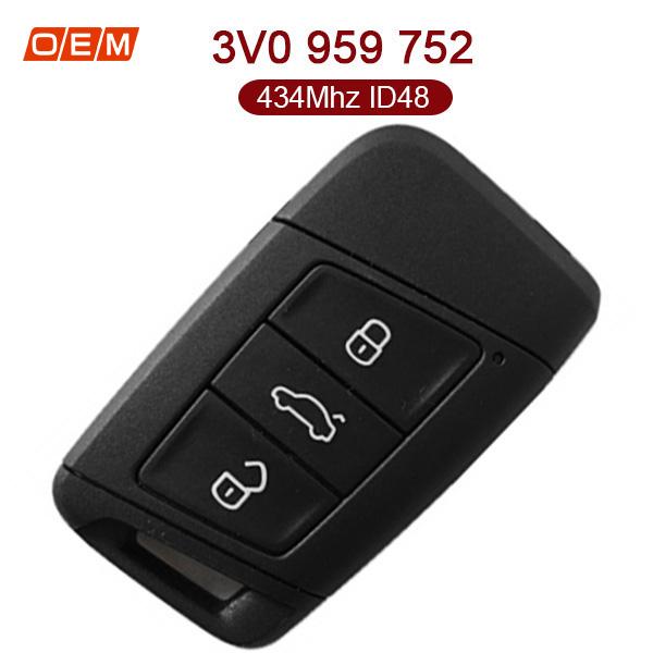 Original 3 Buttons 434 MHz Flip Remote Key for VW Skoda  - 3V0 959 752