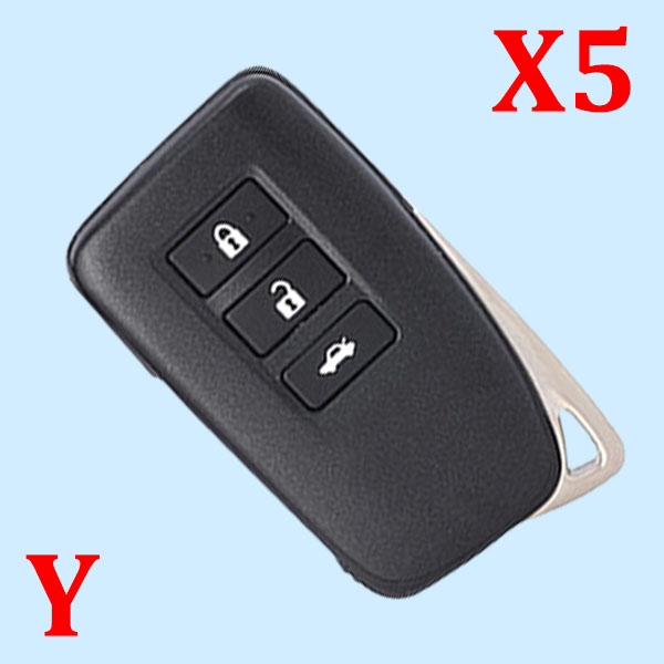 ( Type 3 ) 3 Buttons Smart Key Shell for Toyota - Suitable for VVDI Toyota Smart Key PCB - Pack of 5