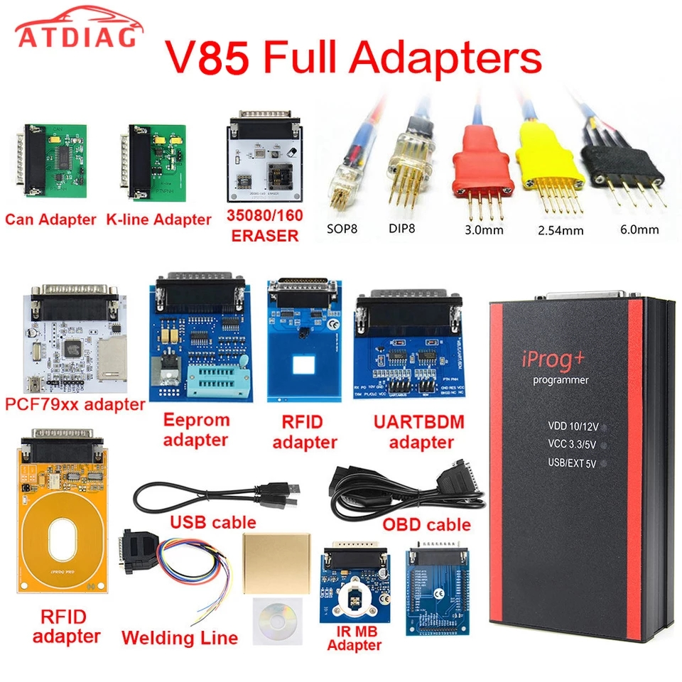 V85 Iprog+ Pro Programmer Full Version with Full Adapters + IPROG Plus PCF79xx SD Card Adapter + Universal RDIF Adapter