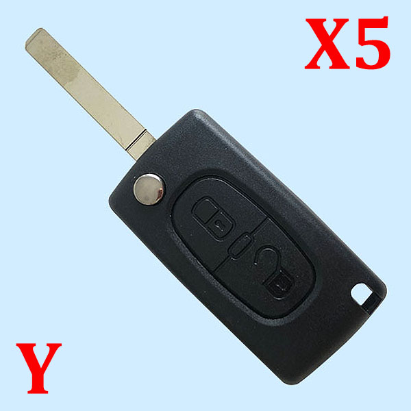 2 Button Key Shell CE0523 without Battery Holder without Groove VA2  Blade for Citroen 5pcs