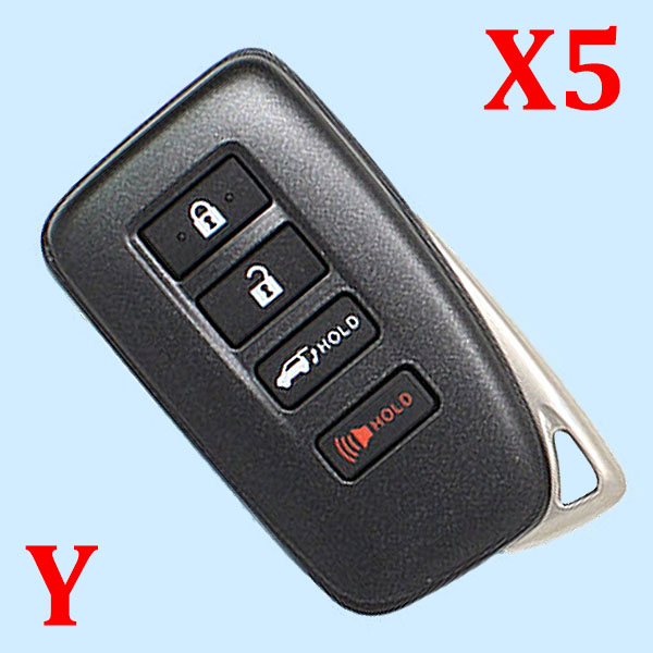 ( Type 1 ) 4 Buttons Smart Key Shell for Toyota - Suitable for VVDI Toyota PCB - Pack of 5