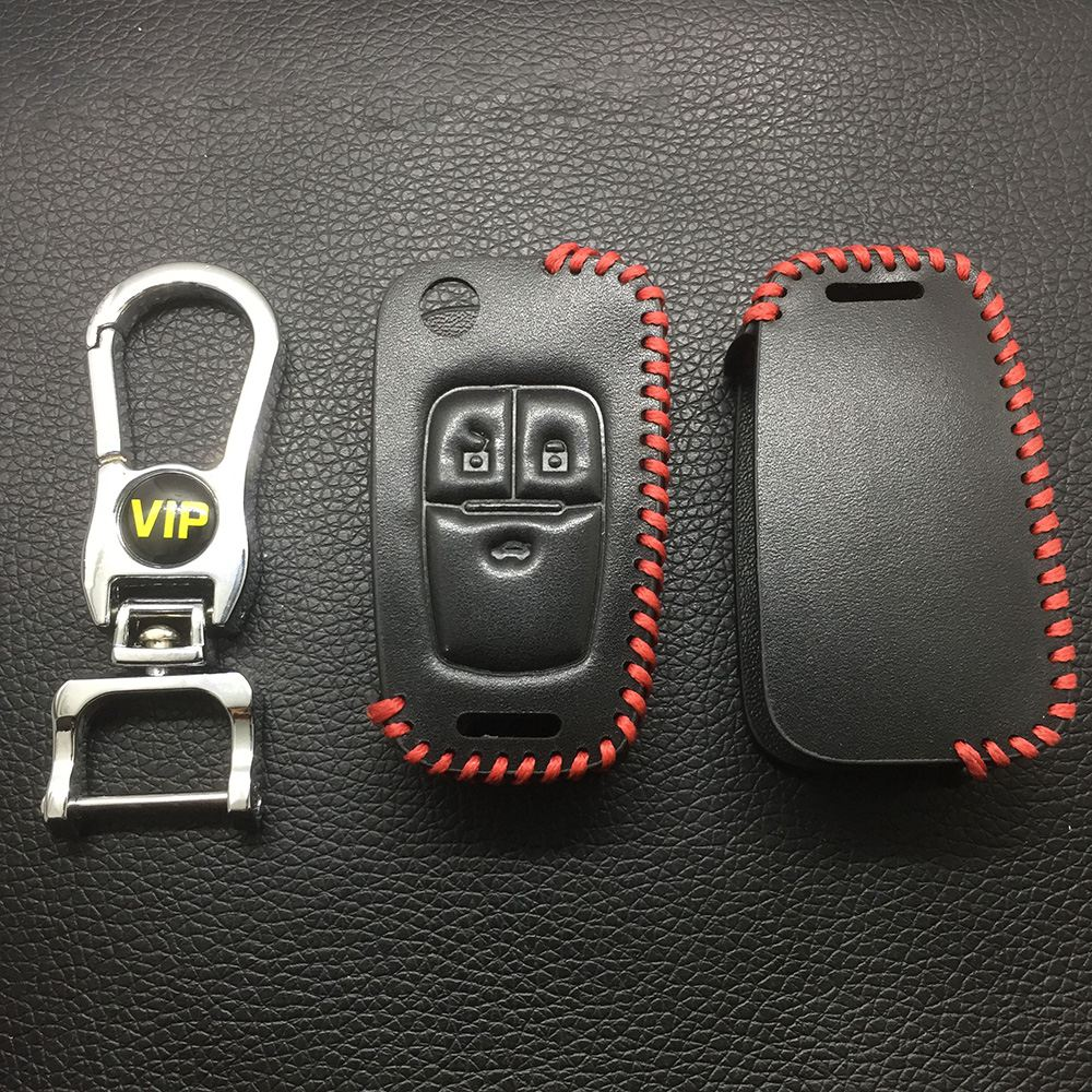 Leather Case for Buick Chevrolet 3 Buttons Folding Car Key - 5 Sets