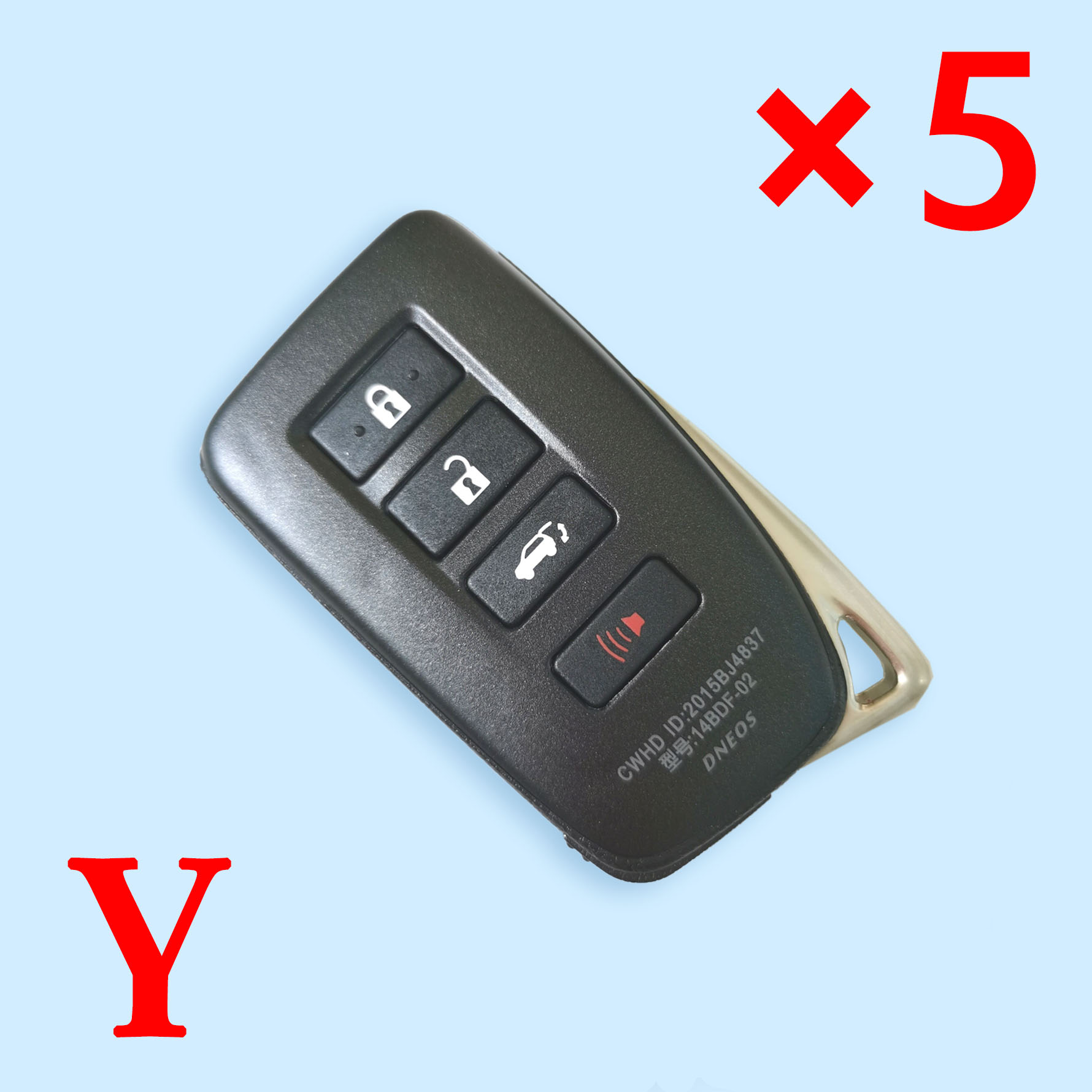 4 Buttons Smart Key Shell for Toyota - Suitable for VVDI Toyota PCB - Pack of 5