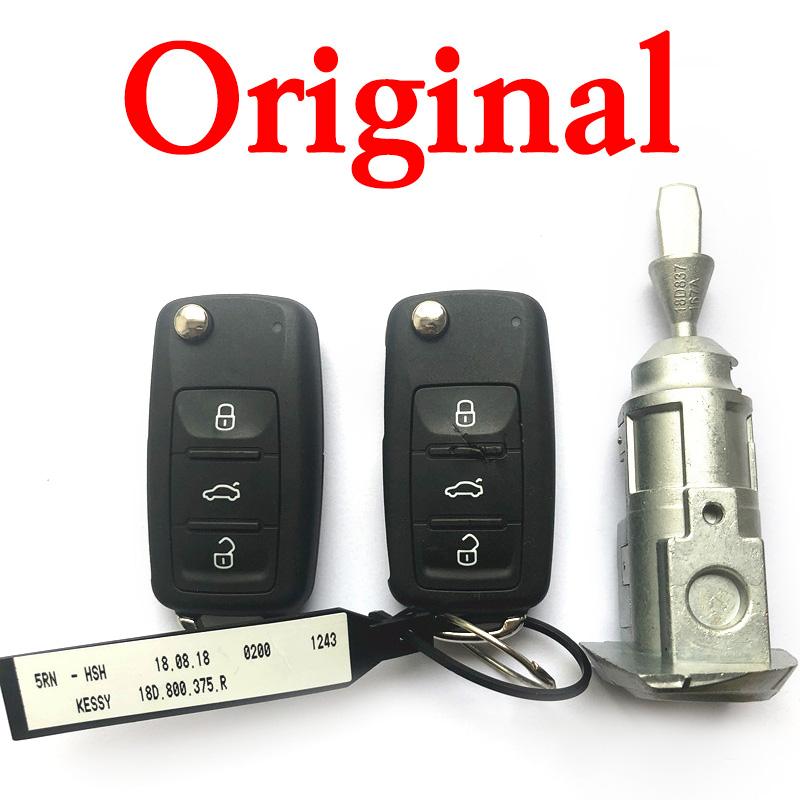 ORIGINAL Full Car Lock Set with 2 Pieces MQB Keyless Smart Key 3 BUTTONS 434MHZ SMART KEY FOR VW PASSAT 5KO 202AJ AND 753AG ETC