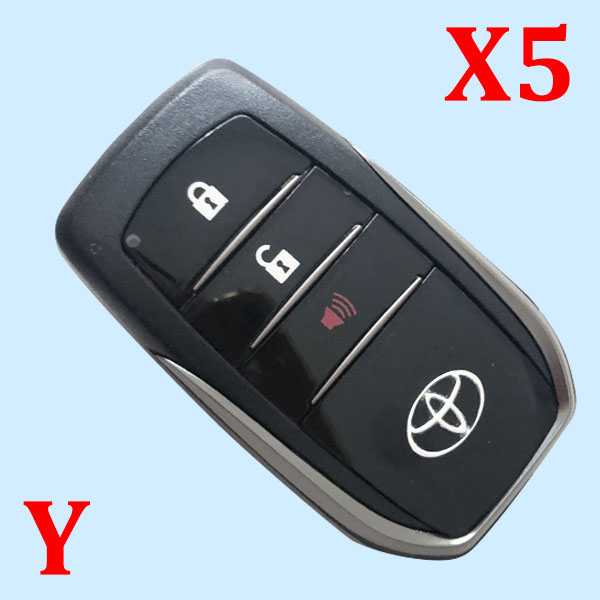 ( Type 16 ) 3 Buttons Smart Key Shell for Toyota - Pack of 5