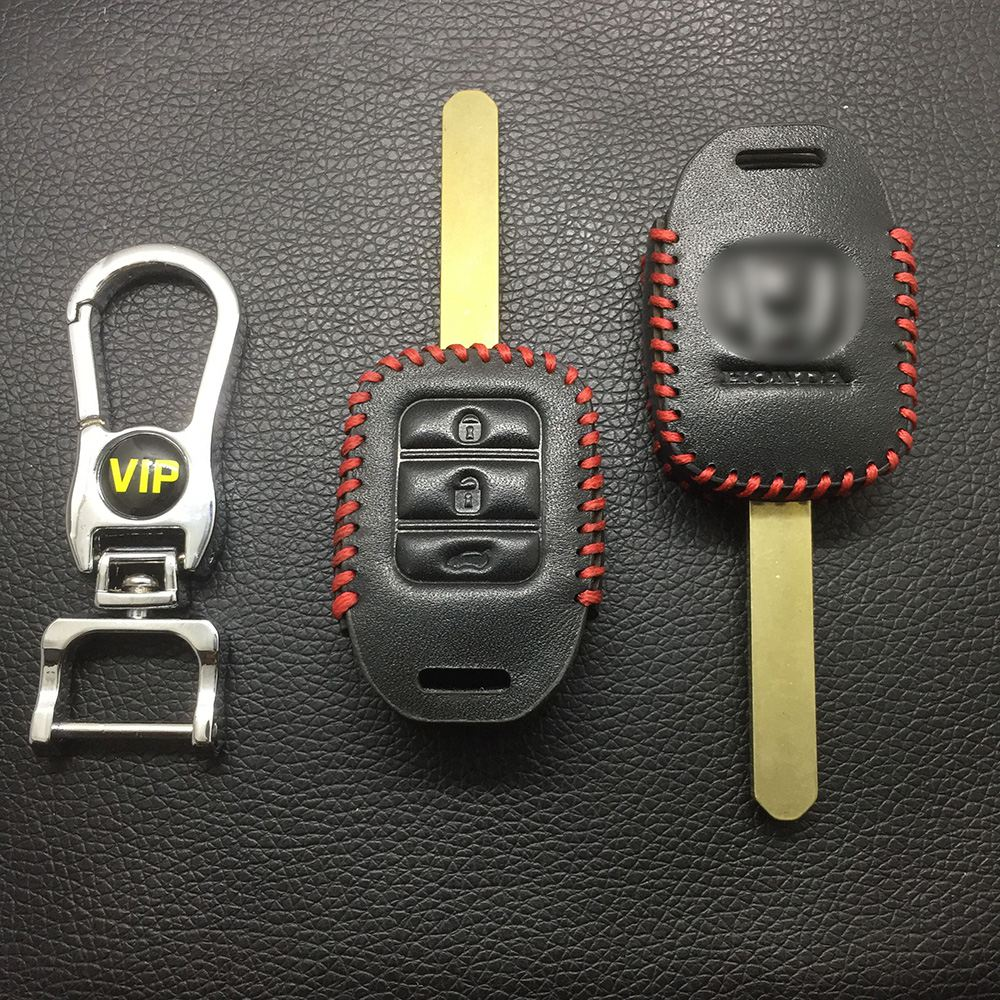 Leather Case for Honda 3 Buttons Square Key Straight Car Key - 5 Sets