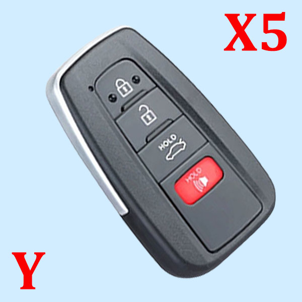 ( Type 6 ) 3+1 Buttons Smart Key Shell for Toyota - Suitable for VVDI Toyota PCB - Pack of 5