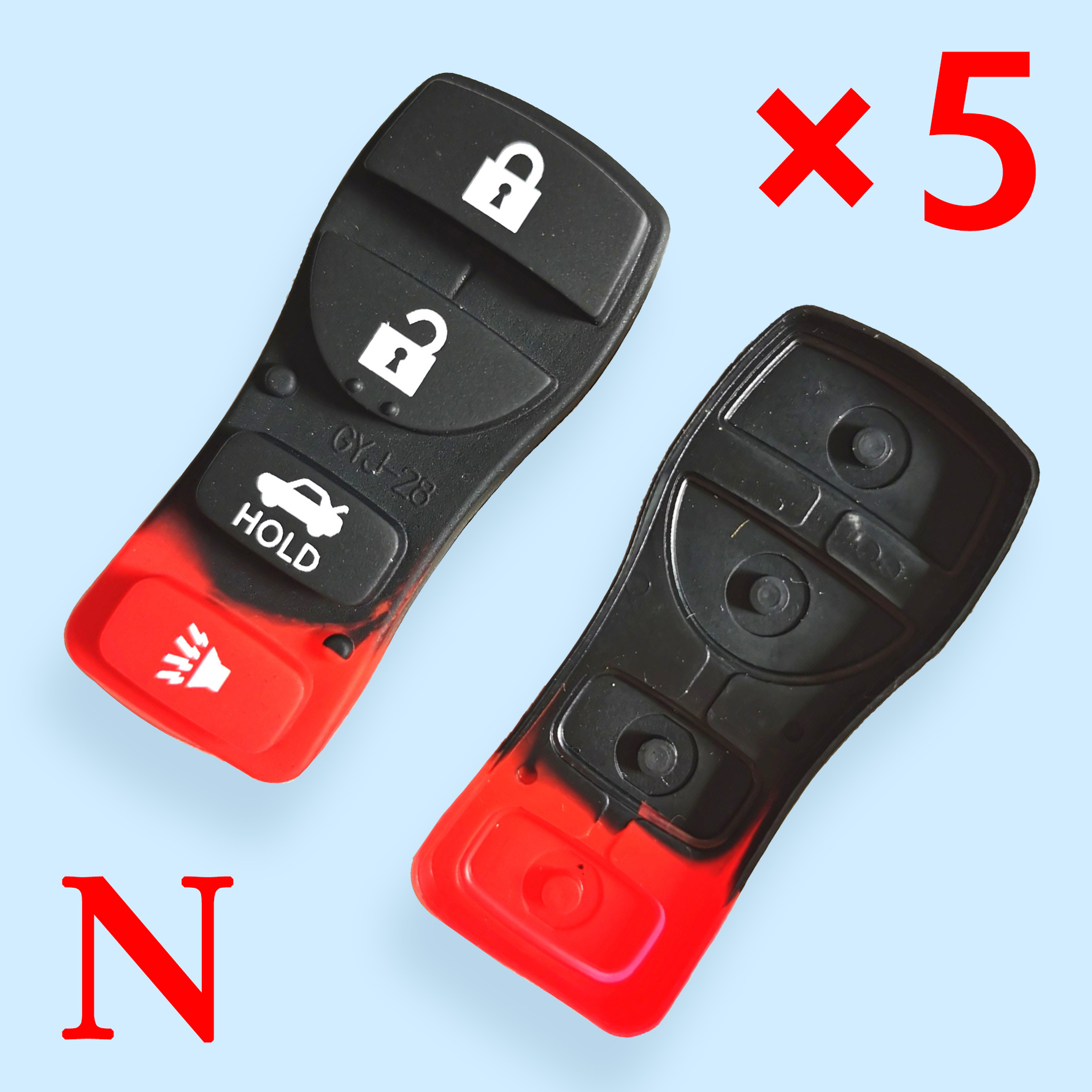 4 button Key Rubber Pad for Nissan 5 pcs