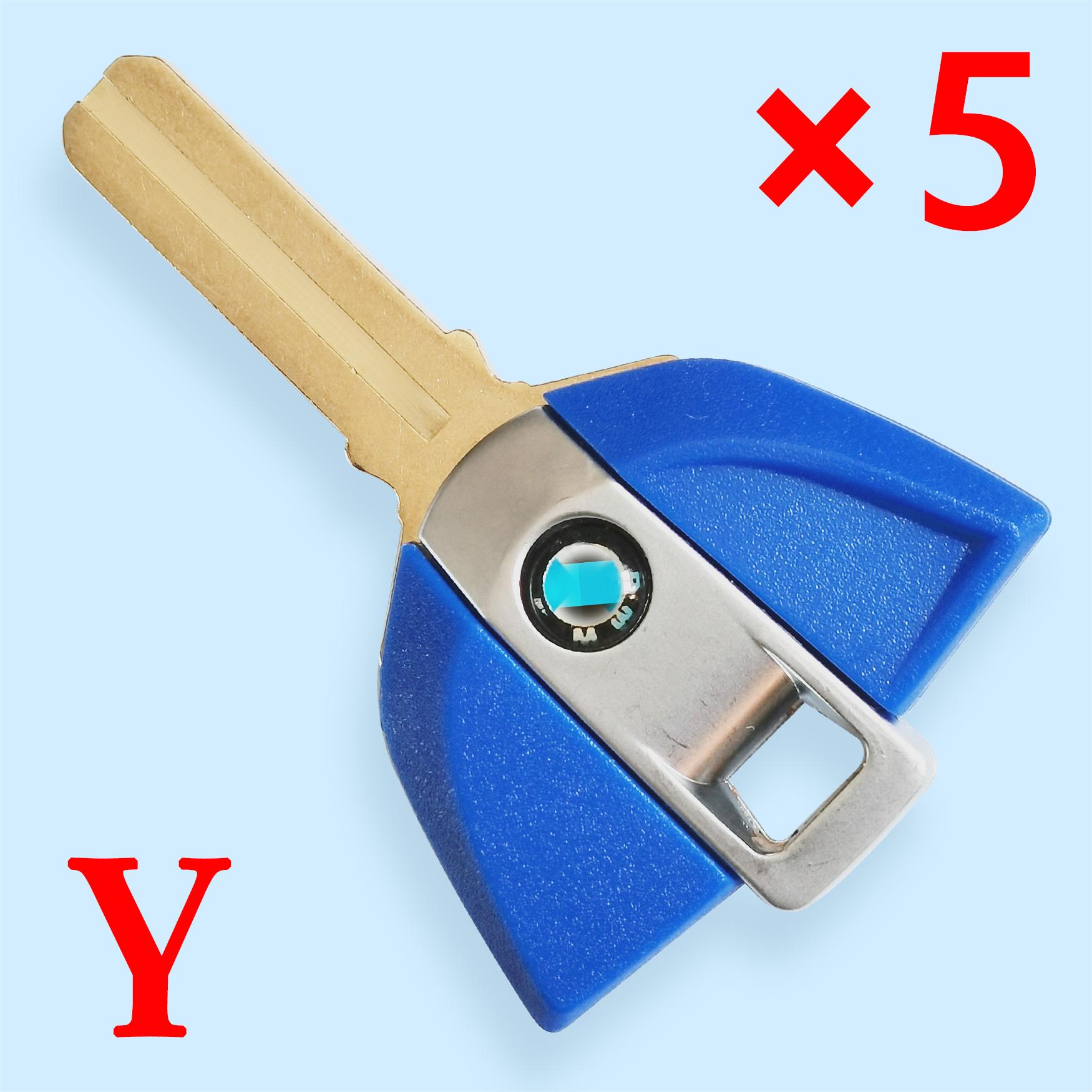 Transponder Key Shell for BMW Motorbike Blue Color - Pack of 5