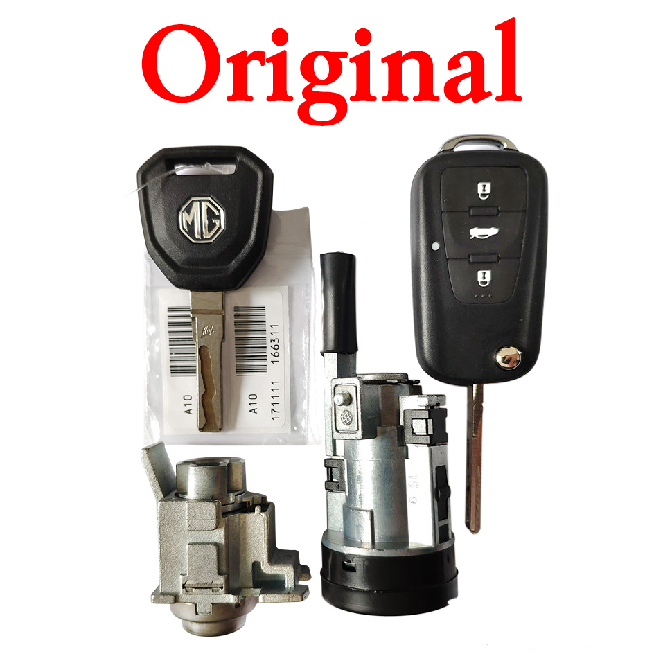 3 Buttons 433 MHz Original Flip Remote Key Full Set with Cylinder Lock for MG - ID46