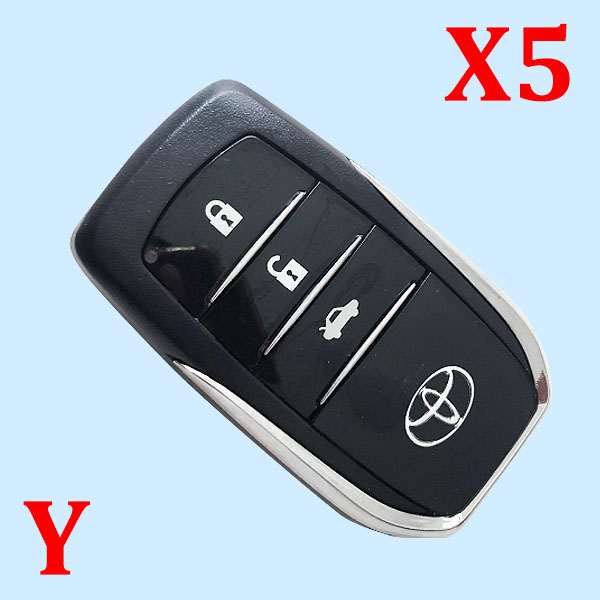 ( Type 17) 3 Buttons Smart Key Shell for Toyota - Pack of 5