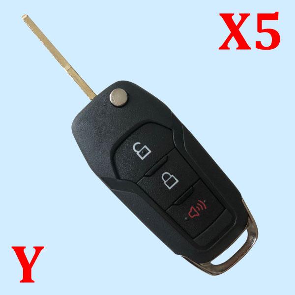 3 Button Remote Flip Key Case for Ford (5pcs)
