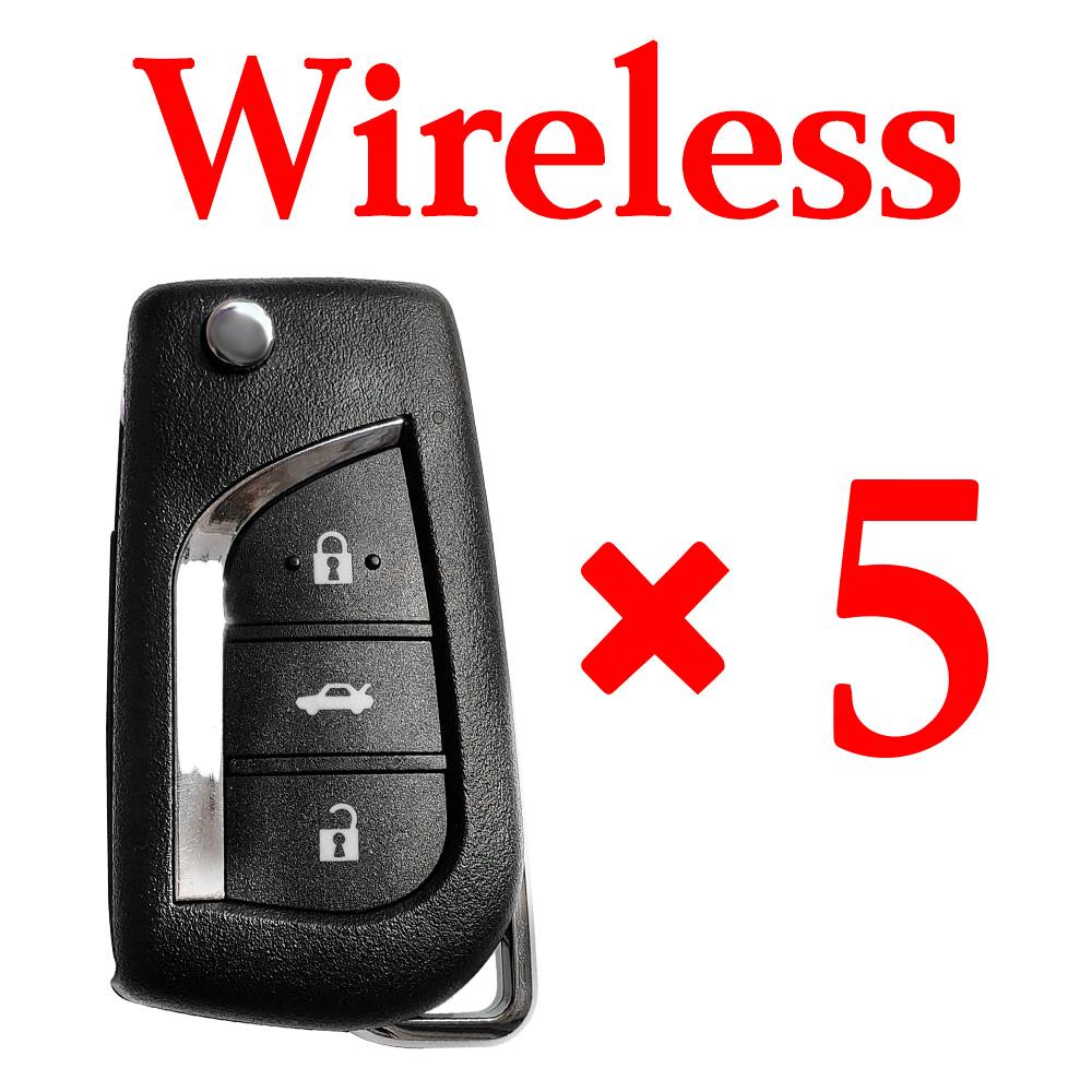 Xhorse VVDI Toyota Type Wireless Remote Control - XNTO00EN - Pack of 5