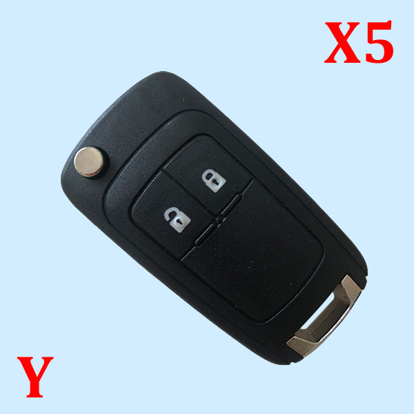 2 Buttons Flip Key Shell for Opel - Pack of 5
