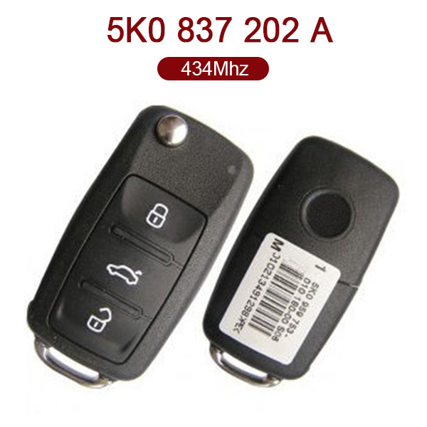 3 Buttons 434 MHz Flip Remote Key for VW - 5K0 837 202A